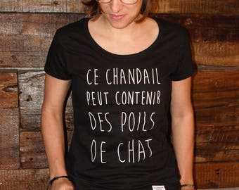 Poils de chat, t-shirt noir ou mauve, 100% coton, pour femme
