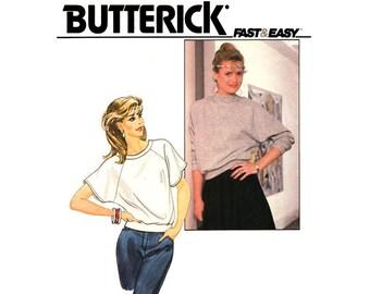 1980s Raglan Sleeve Top Pattern Butterick 4499 Flash Dance Pullover Top Womens Sewing Pattern Size 6 UNCUT
