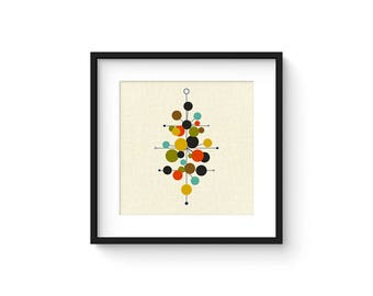RADIATE - Square Version - Giclee Print - Mid Century Modern Danish Modern Minimalist Cubist Modernist Abstract Eames