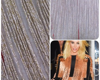 Light gold and off white fringe,chainette fringe trim, 15 inch chainette fringe, gold fringe