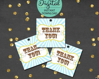 Circus Thank You Tags, Thank You, Carnival Thank You Tags, Circus Birthday, Carnival Birthday, Printable Tags,  INSTANT DOWNLOAD #5423