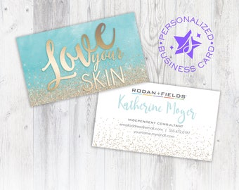 Business cards etsy rodan fields business card personalized business card independent consultant card custom rodan colourmoves Gallery