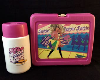 1990 Barbie Lunchbox and Thermos Set - Pink - Vintage 90s Mattel Barbie Doll