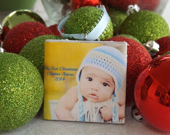 Baby's First Christmas Ornament - Photo Ornament- Personalized Baby Boy Ornament- Photo tile