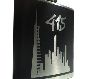 415 San Francisco Flask- transamerica alcohol, liquor, booze, wedding, bridal party, hip pocket- Personalized Custom - YOU pick COLOR