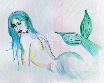 Mermaid watercolor fine art painting drawing A5 print wall gift decor