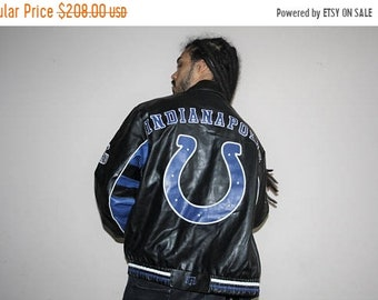 On SALE 60% Off - VTG 1990s NFL Football Full Leather Indianapolis Colts Bomber Jacket 90s - Leather Jackets - Vintage Colts - Mj-2 DHiPqP