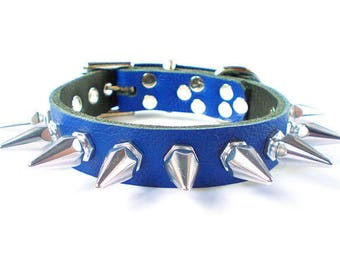 "3/4"" Soft Royal Blue, Thick Leather Spiked Dog Collar with 1"" Tall Hexagonal Spikes"