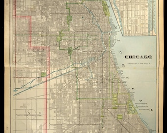 Chicago Map Chicago Street Map Early 1900s 1901 Original