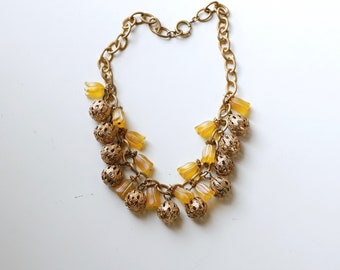 1930s art deco brass bauble yellow flower necklace / 30s vintage floral statement necklace / antique brass charm necklace / art deco jewelry