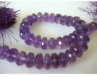 Amethyst Rondelles - 8mm Approx, Micro Faceted Rondelles - 2.5 Inch Half Strand - 11 Pieces Approx