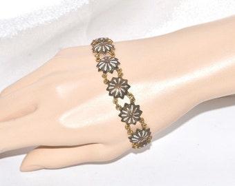 Vintage Signed Spain Linked Panel Damascene Style Larger Length Bracelet