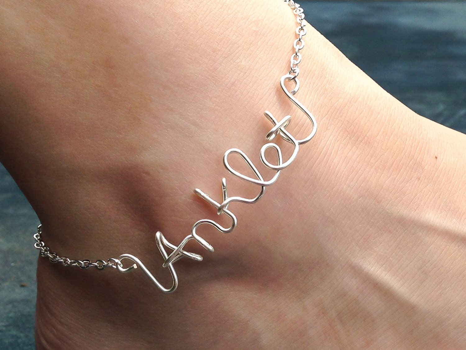 ankle sterling anklet bracelet silver length personalized name products custom