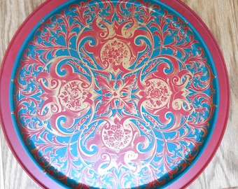 Vintage Red and Teal Blue Mediaeval Floral Pattern Round Metal Serving Tray