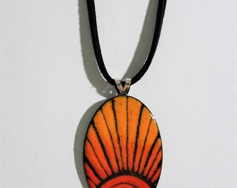 Torch fired copper enameled adjustable necklace