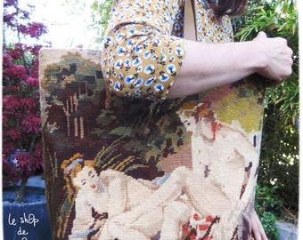 French Tapestry Purse, Canvas Handbag Boucher, LeJane