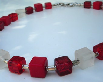 Red and White Necklace - Cubes - Spacers - Fashion Jewelry - Nickel-Free - Glass - Acrylic Beads - Summer Necklace