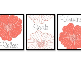 Bathroom Wall Decor Relax Soak Unwind Grey Pink Coral Bathroom Wall Art Modern Bathroom Art Set of 3 Flower Bath Art Prints