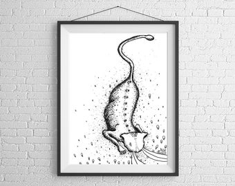 Cat Art Print, Cat Wall Art, Cat Illustration, Cat lover Gift, black and white cat, Cat Pen and Ink, Cat drawing, Cat Poster, kitty art,