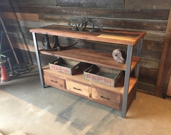 Reclaimed Wood Media Console & Shelving Unit / Industrial Credenza