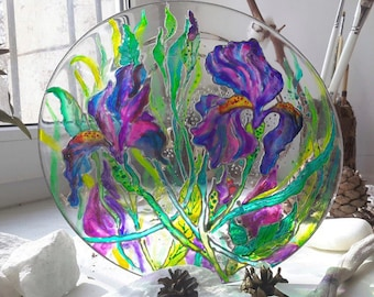 Dish with Iris painted with stained-glass paints
