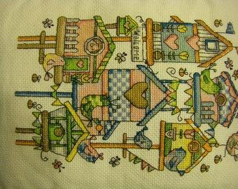 Birdhouse Cross stitch & Crotchet Pillow