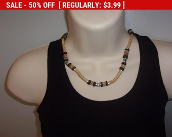 Vintage wood bead choker necklace, hippie necklace