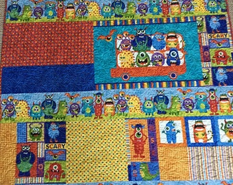 """Monster Mash Children's or Baby Quilt Kit - 50"""" x 58"""" Quilt made from Monster Mischief from Northcott"""