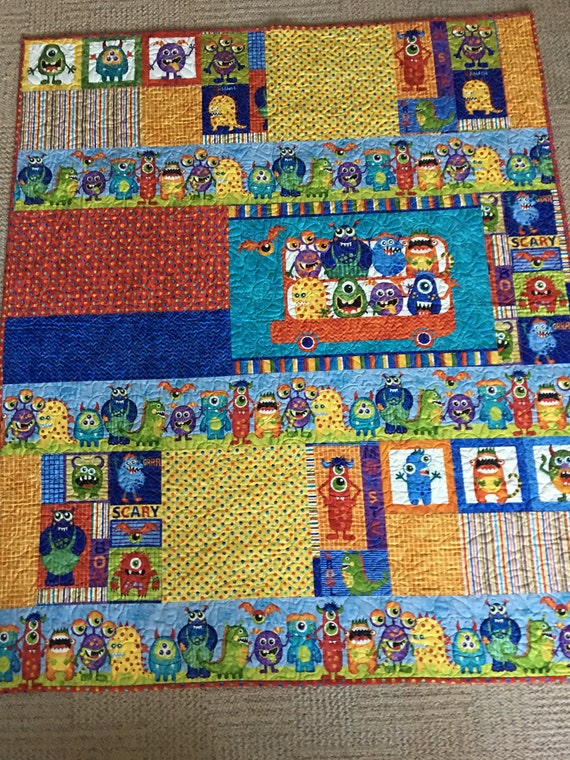 Monster Mash Childrens Or Baby Quilt Kit 50 X 58 Quilt Made