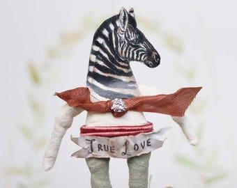 AUFTRAGSARBEIT ++ Zebra  Nostalgische Wattefigur FilASophie Ornament  spun cotton ornament