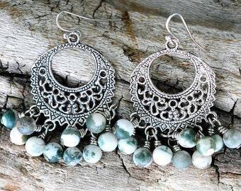 Moss Agate Chandelier Earrings, Moss Agate Earrings, Women's Earrings, Women's Gift, Dangle Earrings, Beaded Earrings, Boho Earrings