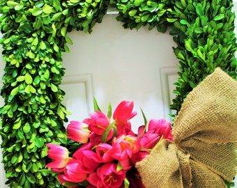 Tulip wreath , boxwood wreath , preserved boxwood wreath  ,front door wreath ,  spring wreath