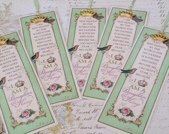 """SET of 5 Daughter of the King Bookmark Princess Party Favor """"MINT GREEN"""" Sunday School Class gift Inspirational Gift Strength4theJourney"""