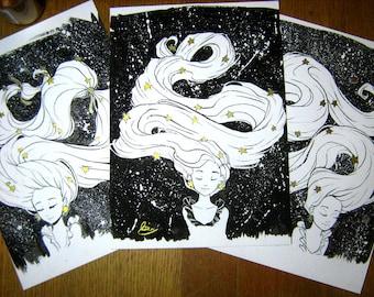 Original Art Winter Ink Gold Glitter Star Illustrations Set of Three