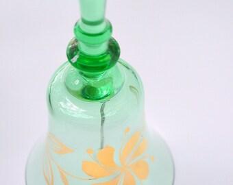 Green Glass Bell Gold Flowers (B)