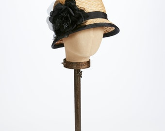 Kathy Jeanne 20's Natural Milan Cloche with Black Rose