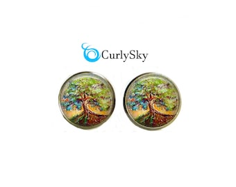Elder Tree Studs Old Tree Studs Aged Tree Studs Elder Oak Tree Studs Old Tree Earrings Elder Tree Jewelry Elder Tree Studs Oak Tree Studs