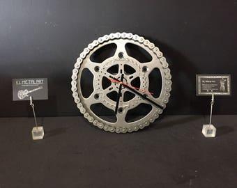 Upcycled motorbike parts wall clock