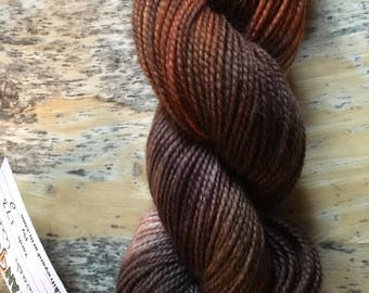 heartwood hand dyed, superwash highland wool sock yarn