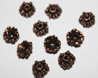 Copper bead caps 7 * 4 mm, lot of 10