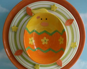 Colorful Easter Decor Yard Art Baby Chick Plate Flower, Close Out Sale