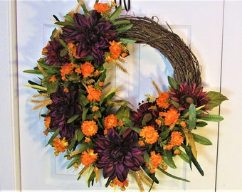 Fall Wreath,Home Decor, Front Door Wreath,Autumn Wreath,Outdoor Wreath,Grapevine Wreath,New Homeowners Gift,Hostess Gift,Grapevine,Wreath