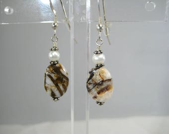 Dangle Drop Earrings Jasper Beads with Freshwater White Pearl Pewter Accents Sterling Silver Fish hook ear wires