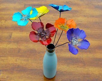 Six Realistic artificial metal poppies for planter accents outdoor spaces colorful centerpieces desert winter flowers bathroom FREE SHIPPING
