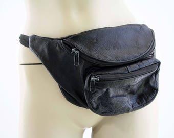 Vintage Oversize Black Leather Fanny Pack Hip Sack Bum Bag