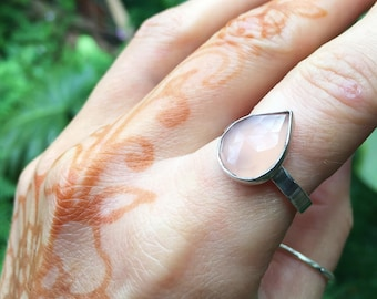 Pink chalcedony faceted ring // recycled sterling silver // made to your size in Byron Bay