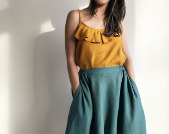 Linen Midi Skirt, Green Linen Skirt, Knee length Skirt, Midi Skirt Boho, Skirt with Pockets, Womens Skirts, Custom Skirt, Summer Boho Skirt