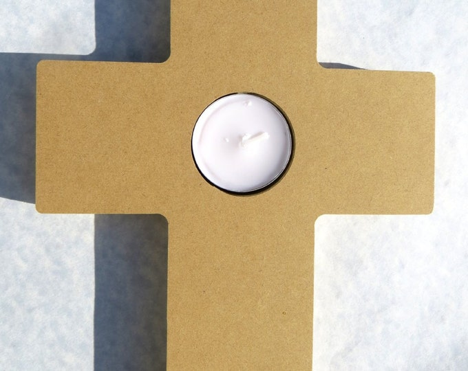 Cross Tealight Candle Holder -  Use as a Base for Mosaics Decoupage or Decorative Painting - Unfinished MDF Made From Recycled Material