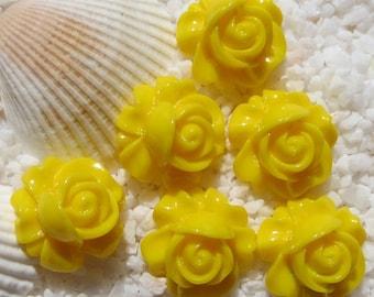 Resin Rose Swirl Cabochon - 16mm - 12 pcs - Yellow