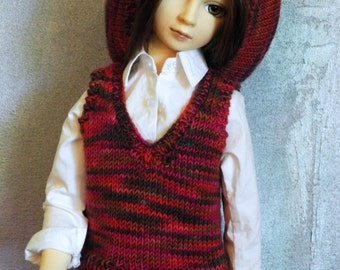 SD BJD sweater vest and beret Chocoberry